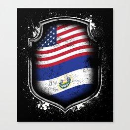 Salvadorian American Flag Canvas Print