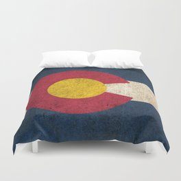 Old and Worn Distressed Vintage Flag of Colorado Duvet Cover