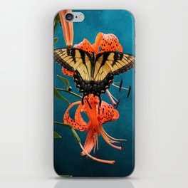 Eastern Tiger Swallowtail Butterfly On Orange Tiger Lily iPhone Skin