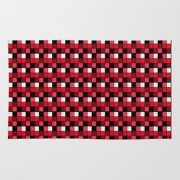Ruby Lipstick Blocks, Checkered Pattern - Red Rug