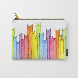 Cat Rainbow Watercolor Whimsical Animals Cats Pattern Carry-All Pouch