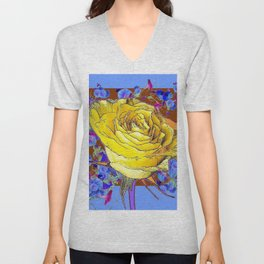 GRAPHIC YELLOW ROSE BLUE FLOWERS BROWN ART Unisex V-Neck