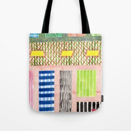 Friendly Pattern Mix On Pink Tote Bag