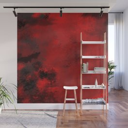 Red and Black Abstract Wall Mural