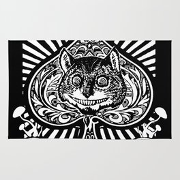 Cheshire Cat Black and White Rug