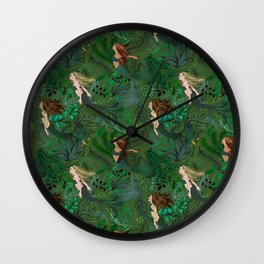 Mermaids in an Underwater Garden Wall Clock