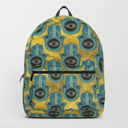 Decorative Hamsa Hand pattern on gold Backpack