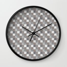 Rustic Charcoal Beige and Cream Patchwork Wall Clock
