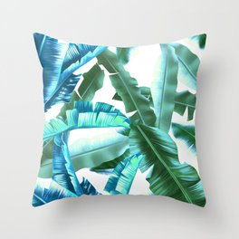 tropical banana leaves pattern turquoise Throw Pillow