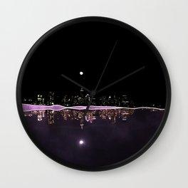 Moonlight In The City Skyline Design Wall Clock