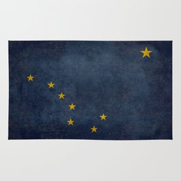 Alaskan State Flag, Distressed worn style Rug