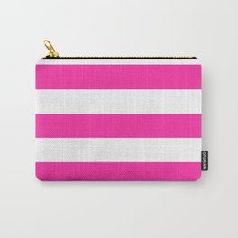 Persian rose - solid color - white stripes pattern Carry-All Pouch