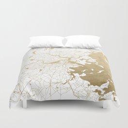 Boston White and Gold Map Duvet Cover