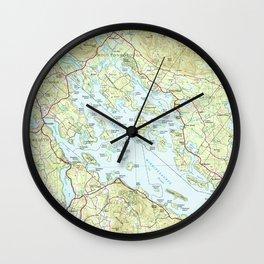 Lake Winnipesaukee Map (1986) Wall Clock
