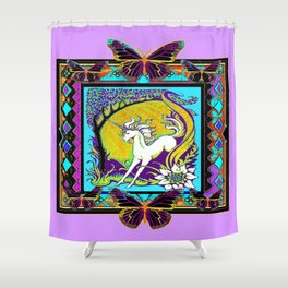 Nouveau Unicorn & Butterfly Western Abstract Design Shower Curtain