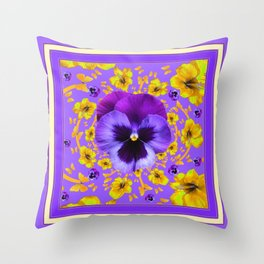 LILAC PANSIES YELLOW BUTTERFLIES & FLOWERS Throw Pillow