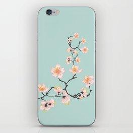 Sakura Cherry Blossoms x Mint Green iPhone Skin