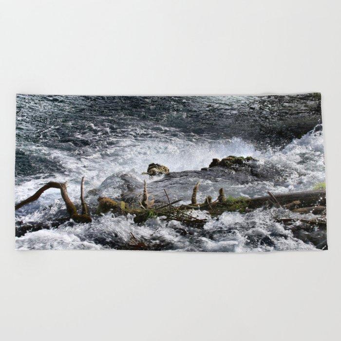 Cascades In The River Beach Towel
