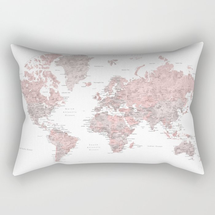 Dusty pink and grey detailed watercolor world map Rectangular Pillow