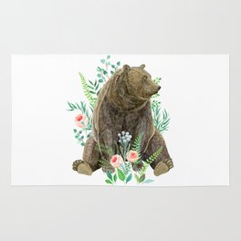 bear sitting in the forest Rug