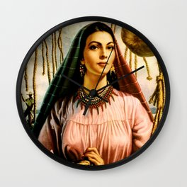 Jesus Helguera Painting of a Mexican Fisher Girl With Basket Wall Clock