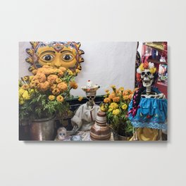 Day of the Dead Altar with Skeleton Couple & Tarot Cards Metal Print