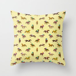 To The Horse Races (Yellow) Throw Pillow