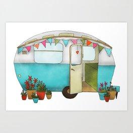 Blue Caravan Art Print