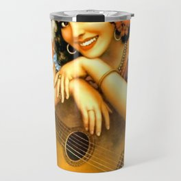 Mexican Calendar Girl with Guitar by Jesus Helguera Travel Mug