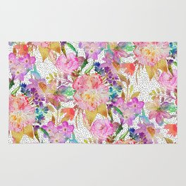 Elegant watercolor floral and dotted brush strokes Rug