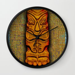 Tiki Tile Wood Carving Wall Clock