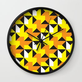 Geometric Pattern 214 (yellow orange black triangles) Wall Clock