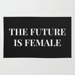 The future is female black-white Rug