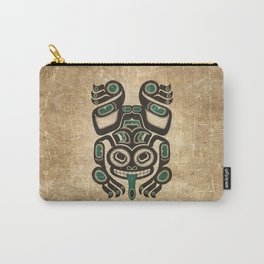 Teal Blue and Black Haida Spirit Tree Frog Carry-All Pouch