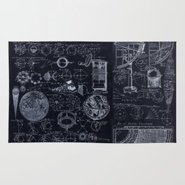 Astronomy Blueprint Diagrams Rug