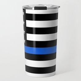 Thin Blue Line American Flag Travel Mug