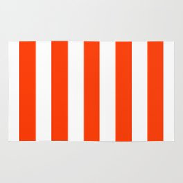 Coquelicot orange - solid color - white vertical lines pattern Rug