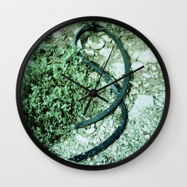GREEN PICTURE OF A TIRE Wall Clock