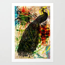 Splatter Peacock Art Print