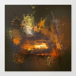 Exploding vibrant sunset Canvas Print