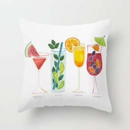 Summer Cocktails Throw Pillow