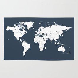 Minimalist World Map in Navy Blue Rug