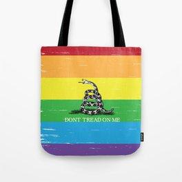 Gadsden flag LGBT Don't tread on me Libertarian rainbow flag Tote Bag