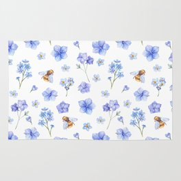 Elegant lavender brown watercolor honey bee floral Rug