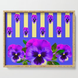 PURPLE PANSIES ON LAVENDER MODERN ABSTRACT ART Serving Tray