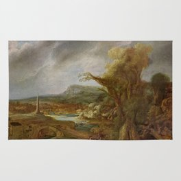 Stolen Art - Landscape with an Obelisk by Govert Flinck Rug