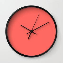 Chalky Pastel Red Solid Color Wall Clock