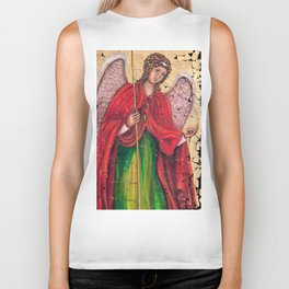Archangel Gabriel Fresco With A Crackled Finish for #Society6 Biker Tank