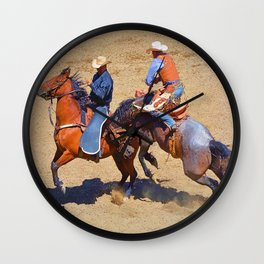 The Saddle Bronc and the Pickup Man - Rodeo Art Wall Clock