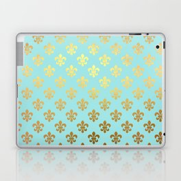 Royal gold ornaments on aqua turquoise background Laptop & iPad Skin